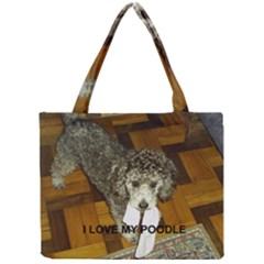 Poodle Love W Pic Silver Mini Tote Bag