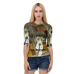 Poodle Love W Pic Silver Quarter Sleeve Tee