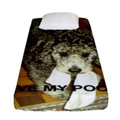 Poodle Love W Pic Silver Fitted Sheet (Single Size)