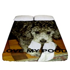 Poodle Love W Pic Silver Fitted Sheet (Queen Size)