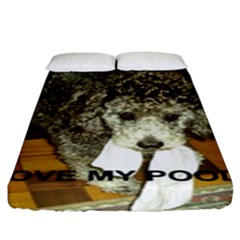 Poodle Love W Pic Silver Fitted Sheet (King Size)