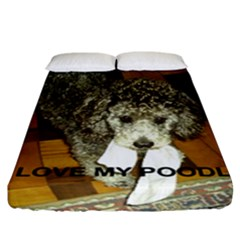 Poodle Love W Pic Silver Fitted Sheet (California King Size)