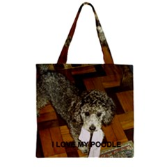 Poodle Love W Pic Silver Zipper Grocery Tote Bag