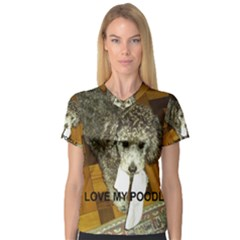 Poodle Love W Pic Silver Women s V-Neck Sport Mesh Tee