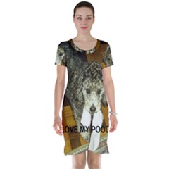 Poodle Love W Pic Silver Short Sleeve Nightdress