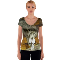 Poodle Love W Pic Silver Women s V-Neck Cap Sleeve Top