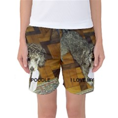 Poodle Love W Pic Silver Women s Basketball Shorts