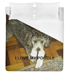 Poodle Love W Pic Silver Duvet Cover (Queen Size)