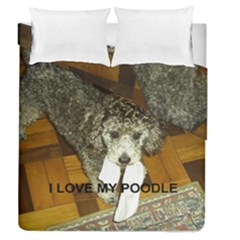 Poodle Love W Pic Silver Duvet Cover Double Side (Queen Size)