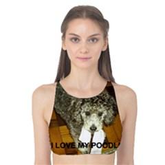 Poodle Love W Pic Silver Tank Bikini Top