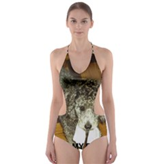 Poodle Love W Pic Silver Cut-Out One Piece Swimsuit