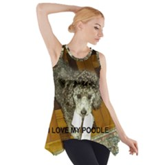 Poodle Love W Pic Silver Side Drop Tank Tunic