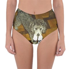 Poodle Love W Pic Silver Reversible High-Waist Bikini Bottoms