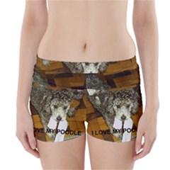 Poodle Love W Pic Silver Boyleg Bikini Wrap Bottoms
