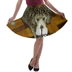 Poodle Love W Pic Silver A-line Skater Skirt