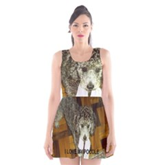 Poodle Love W Pic Silver Scoop Neck Skater Dress