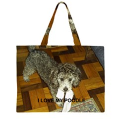 Poodle Love W Pic Silver Large Tote Bag