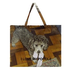 Poodle Love W Pic Silver Zipper Large Tote Bag