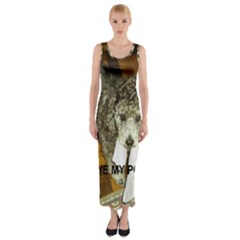Poodle Love W Pic Silver Fitted Maxi Dress