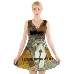 Poodle Love W Pic Silver V-Neck Sleeveless Skater Dress