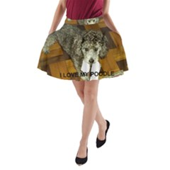 Poodle Love W Pic Silver A-Line Pocket Skirt