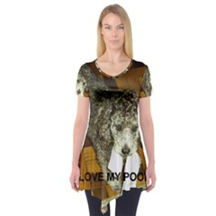 Poodle Love W Pic Silver Short Sleeve Tunic
