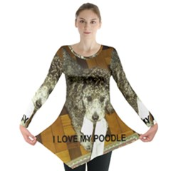 Poodle Love W Pic Silver Long Sleeve Tunic