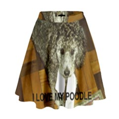 Poodle Love W Pic Silver High Waist Skirt
