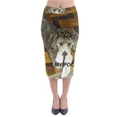 Poodle Love W Pic Silver Midi Pencil Skirt