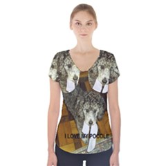 Poodle Love W Pic Silver Short Sleeve Front Detail Top