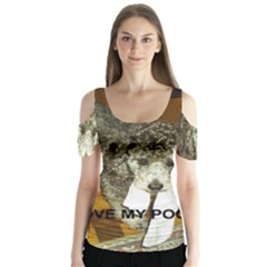 Poodle Love W Pic Silver Butterfly Sleeve Cutout Tee