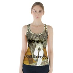 Poodle Love W Pic Silver Racer Back Sports Top