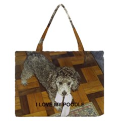 Poodle Love W Pic Silver Medium Zipper Tote Bag