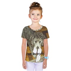 Poodle Love W Pic Silver Kids  One Piece Tee