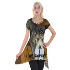 Poodle Love W Pic Silver Short Sleeve Side Drop Tunic