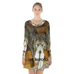 Poodle Love W Pic Silver Long Sleeve Velvet V-neck Dress