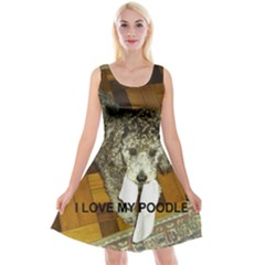 Poodle Love W Pic Silver Reversible Velvet Sleeveless Dress