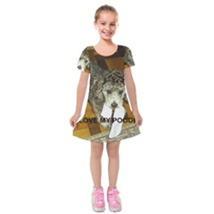 Poodle Love W Pic Silver Kids  Short Sleeve Velvet Dress