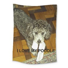 Poodle Love W Pic Silver Medium Tapestry