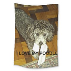 Poodle Love W Pic Silver Large Tapestry