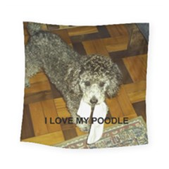 Poodle Love W Pic Silver Square Tapestry (Small)