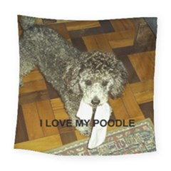 Poodle Love W Pic Silver Square Tapestry (Large)