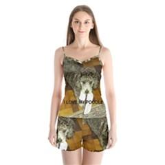 Poodle Love W Pic Silver Satin Pajamas Set