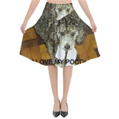 Poodle Love W Pic Silver Flared Midi Skirt