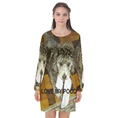Poodle Love W Pic Silver Long Sleeve Chiffon Shift Dress