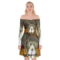 Poodle Love W Pic Silver Off Shoulder Skater Dress
