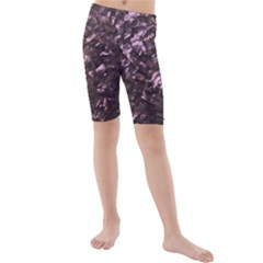 Pink Rainbow Shimmering Mother Of Pearl Kids  Mid Length Swim Shorts