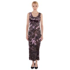 Pink Rainbow Shimmering Mother of Pearl Fitted Maxi Dress