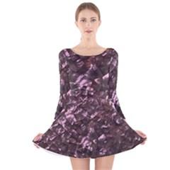Pink Rainbow Shimmering Mother of Pearl Long Sleeve Velvet Skater Dress