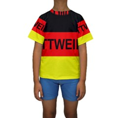 Rottweiler Name On Flag Kids  Short Sleeve Swimwear